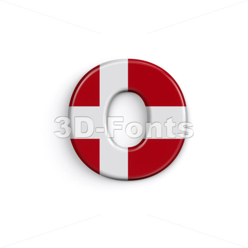 Denmark flag font O - Small 3d letter - 3D Fonts Collections | Top Quality Letters, Numbers and Symbols !