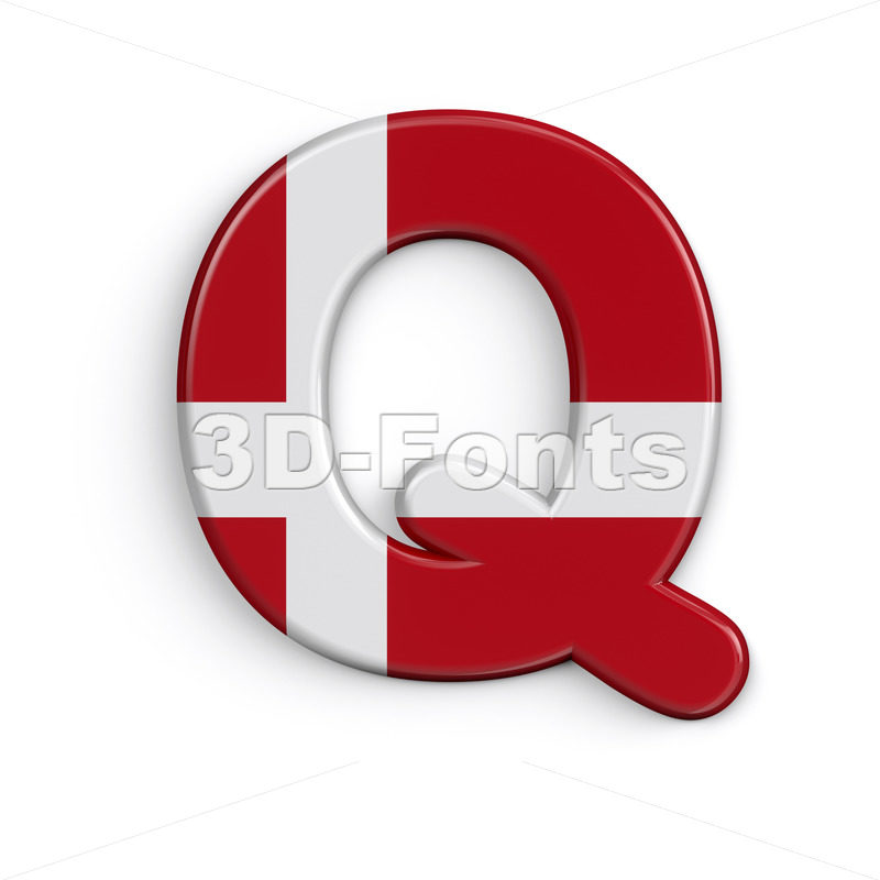 Denmark flag font Q - Upper-case 3d character - 3D Fonts Collections | Top Quality Letters, Numbers and Symbols !