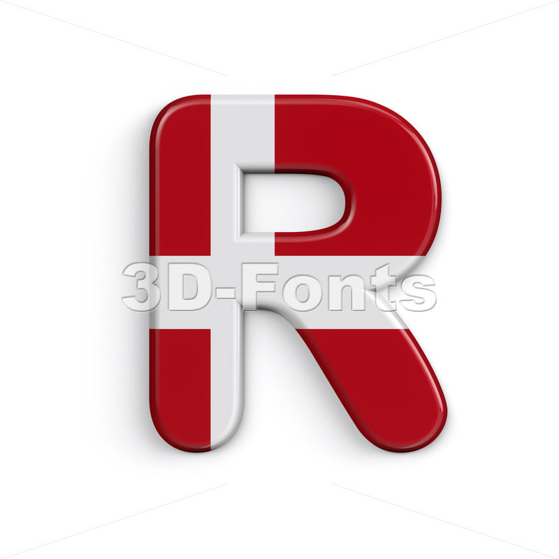 Denmark flag letter R - Uppercase 3d font - 3D Fonts Collections | Top Quality Letters, Numbers and Symbols !