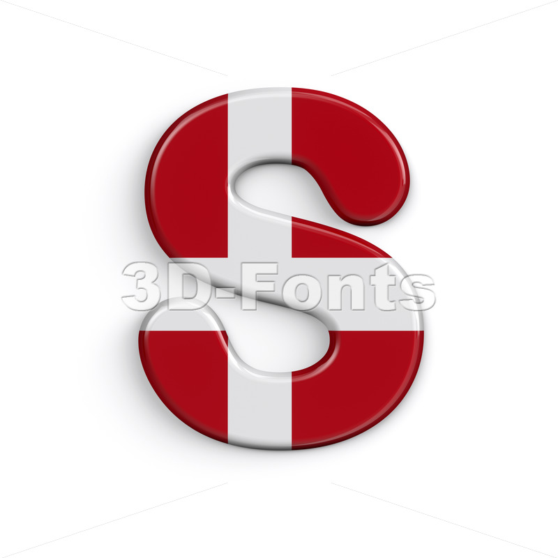 Denmark font S - Uppercase 3d letter - 3D Fonts Collections | Top Quality Letters, Numbers and Symbols !