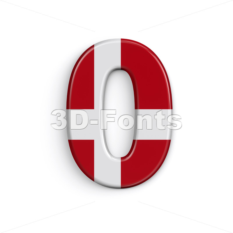 Denmark number 0 -  3d digit - 3D Fonts Collections   Top Quality Letters, Numbers and Symbols !