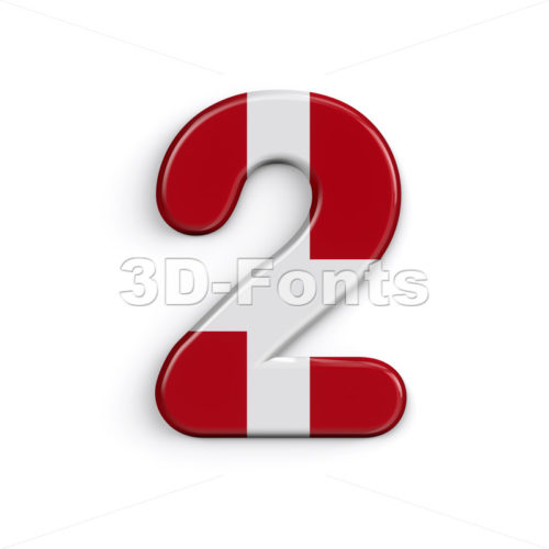 Denmark number 2 -  3d digit - 3D Fonts Collections | Top Quality Letters, Numbers and Symbols !