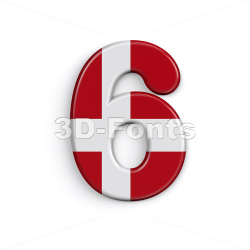 Denmark number 6 -  3d digit - 3D Fonts Collections | Top Quality Letters, Numbers and Symbols !