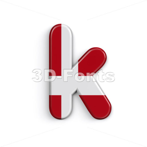 Lower-case Danish character K - Small 3d letter - 3D Fonts Collections | Top Quality Letters, Numbers and Symbols !