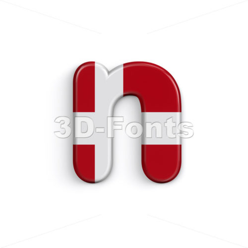 Lower-case Denmark letter N - Small 3d font - 3D Fonts Collections | Top Quality Letters, Numbers and Symbols !