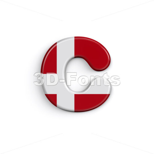 Small Denmark font C - Lowercase 3d character - 3D Fonts Collections | Top Quality Letters, Numbers and Symbols !