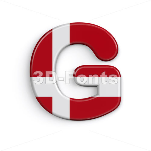 Uppercase Denmark character G - Capital 3d font - 3D Fonts Collections | Top Quality Letters, Numbers and Symbols !