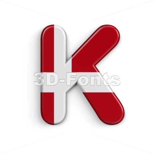 Uppercase Denmark letter K - Capital 3d font - 3D Fonts Collections | Top Quality Letters, Numbers and Symbols !