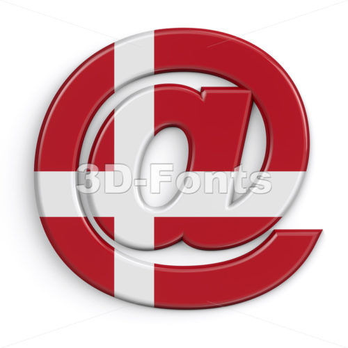 Denmark at sign - 3d Arobase symbol - 3D Fonts Collections   Top Quality Letters, Numbers and Symbols !