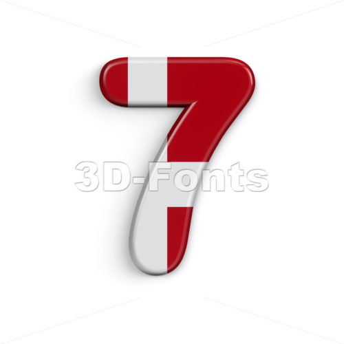 Denmark digit 7 -  3d number - 3D Fonts Collections | Top Quality Letters, Numbers and Symbols !