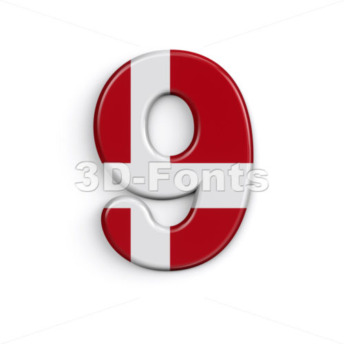 Denmark digit 9 -  3d number - 3D Fonts Collections | Top Quality Letters, Numbers and Symbols !