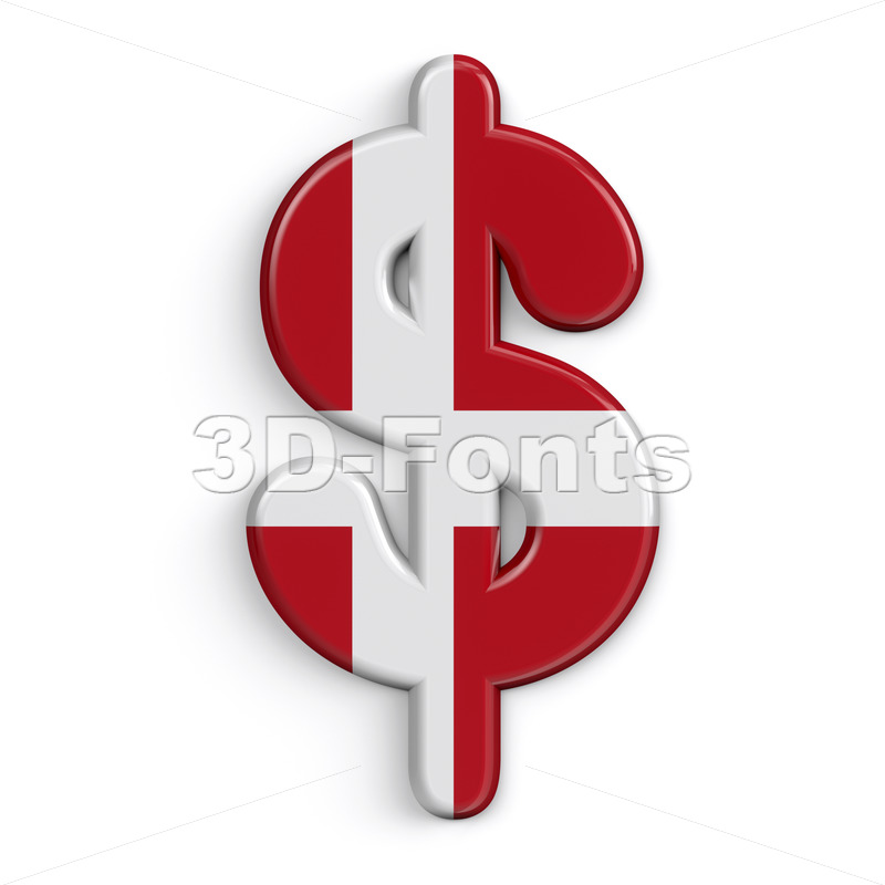 Denmark dollar currency sign - 3d Money symbol - 3D Fonts Collections | Top Quality Letters, Numbers and Symbols !