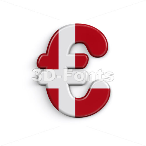 Denmark euro currency sign - 3d Business symbol - 3D Fonts Collections | Top Quality Letters, Numbers and Symbols !