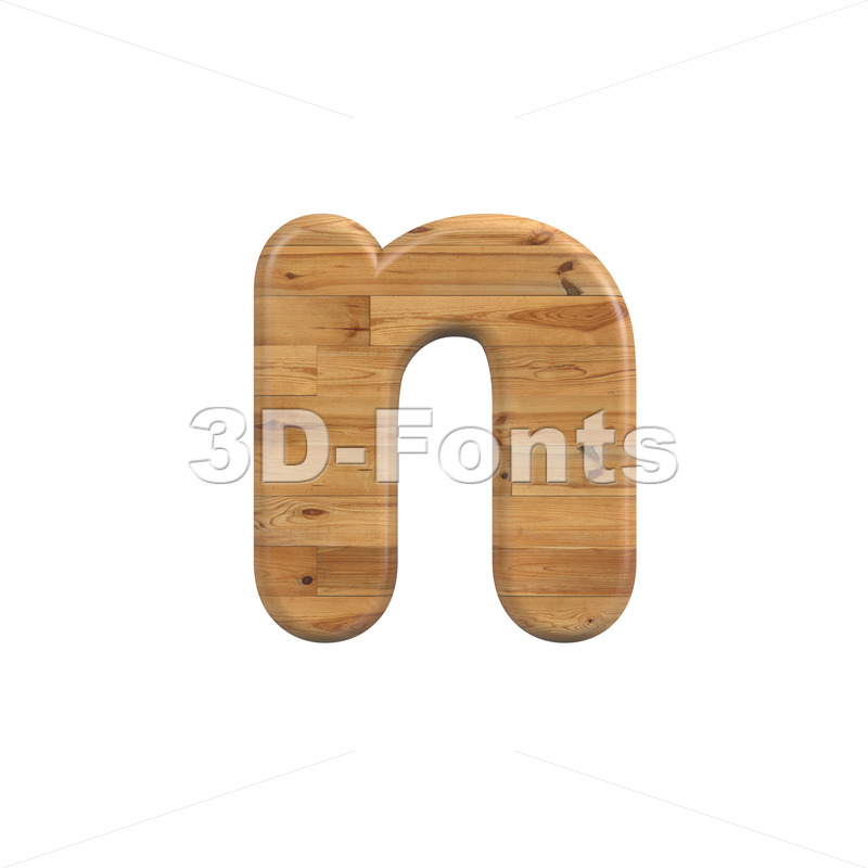 Lower-case Wood letter N - Small 3d font - 3D Fonts Collections | Top Quality Letters, Numbers and Symbols !