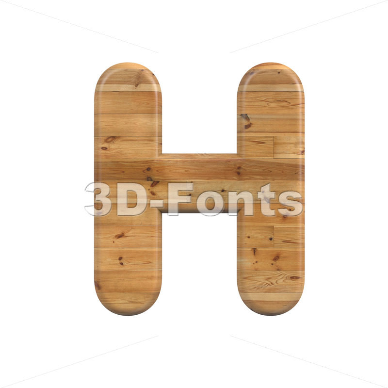 Wood 3d letter H - Upper-case 3d character - 3D Fonts Collections   Top Quality Letters, Numbers and Symbols !