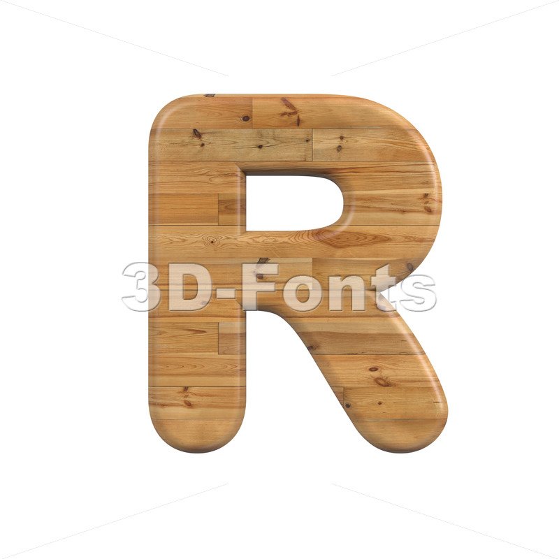 plank letter R - Uppercase 3d font - 3D Fonts Collections   Top Quality Letters, Numbers and Symbols !