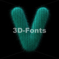 Capital wool letter V - Upper-case 3d character - 3D Fonts Collections | Top Quality Letters, Numbers and Symbols !