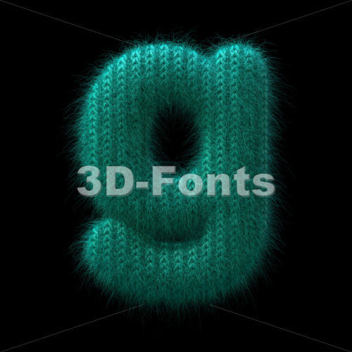 Lowercase wool font G - Small 3d character - 3D Fonts Collections | Top Quality Letters, Numbers and Symbols !