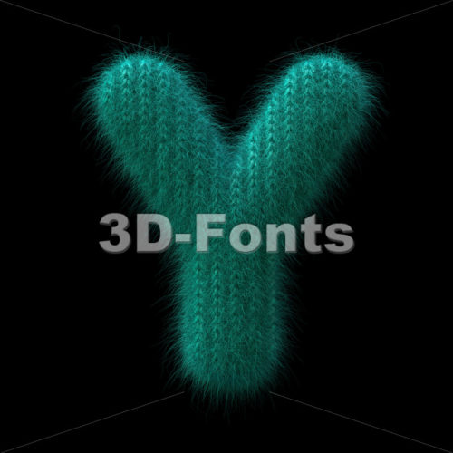 Upper-case wool font Y - Capital 3d character - 3D Fonts Collections | Top Quality Letters, Numbers and Symbols !