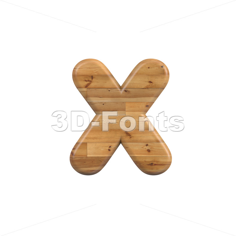 Wood 3d font X - Small 3d letter - 3D Fonts Collections | Top Quality Letters, Numbers and Symbols !