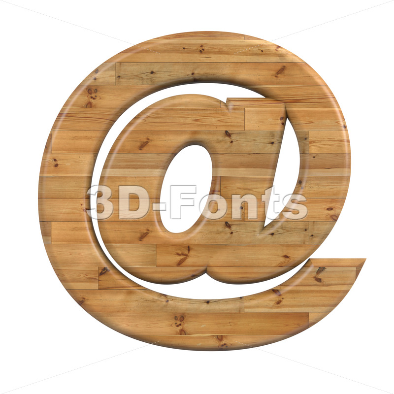 Wood at sign - 3d Arobase symbol - 3D Fonts Collections | Top Quality Letters, Numbers and Symbols !
