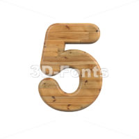 Wood digit 5 -  3d number - 3D Fonts Collections | Top Quality Letters, Numbers and Symbols !
