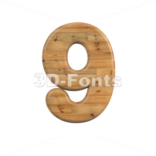 Wood digit 9 -  3d number - 3D Fonts Collections | Top Quality Letters, Numbers and Symbols !