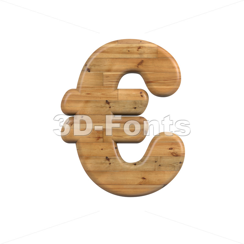Wood euro currency sign - 3d Business symbol - 3D Fonts Collections   Top Quality Letters, Numbers and Symbols !