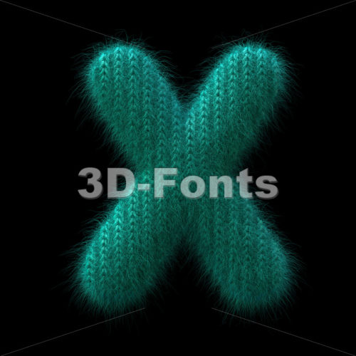 Wool knit character X - Upper-case 3d letter - 3D Fonts Collections | Top Quality Letters, Numbers and Symbols !