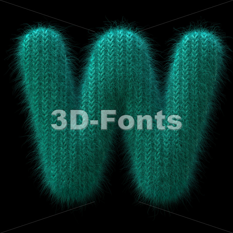 knit font W - Capital 3d letter - 3D Fonts Collections | Top Quality Letters, Numbers and Symbols !