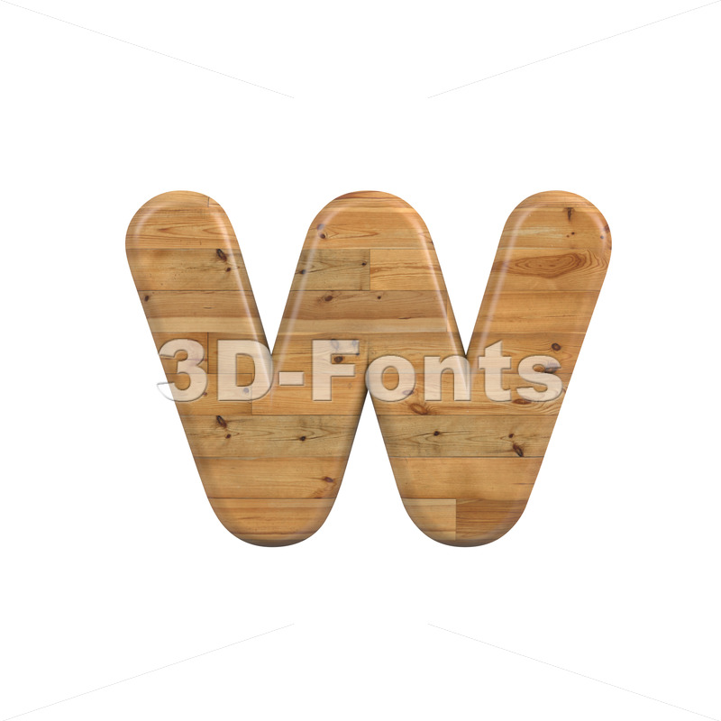 pine alphabet letter W - Lower-case 3d character - 3D Fonts Collections | Top Quality Letters, Numbers and Symbols !
