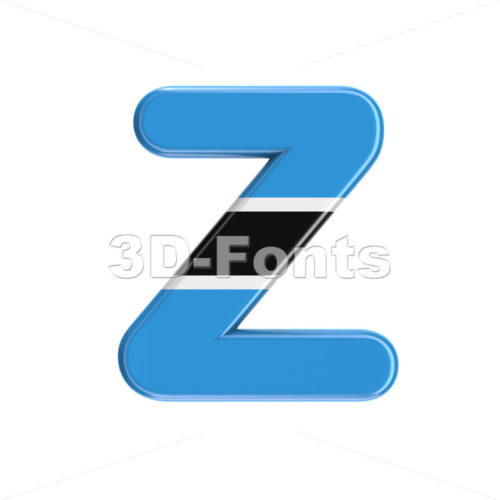 Botswana flag alphabet letter Z - Upper-case 3d font - 3D Fonts Collections | Top Quality Letters, Numbers and Symbols !