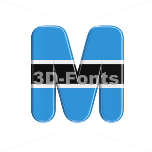 Botswana flag character M – Capital 3d letter – 3D Fonts Collections   Top Quality Letters, Numbers and Symbols !