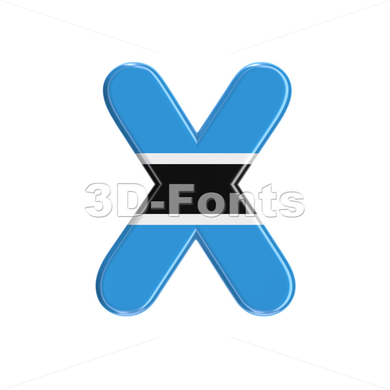 Botswana flag character X - Upper-case 3d letter - 3D Fonts Collections | Top Quality Letters, Numbers and Symbols !