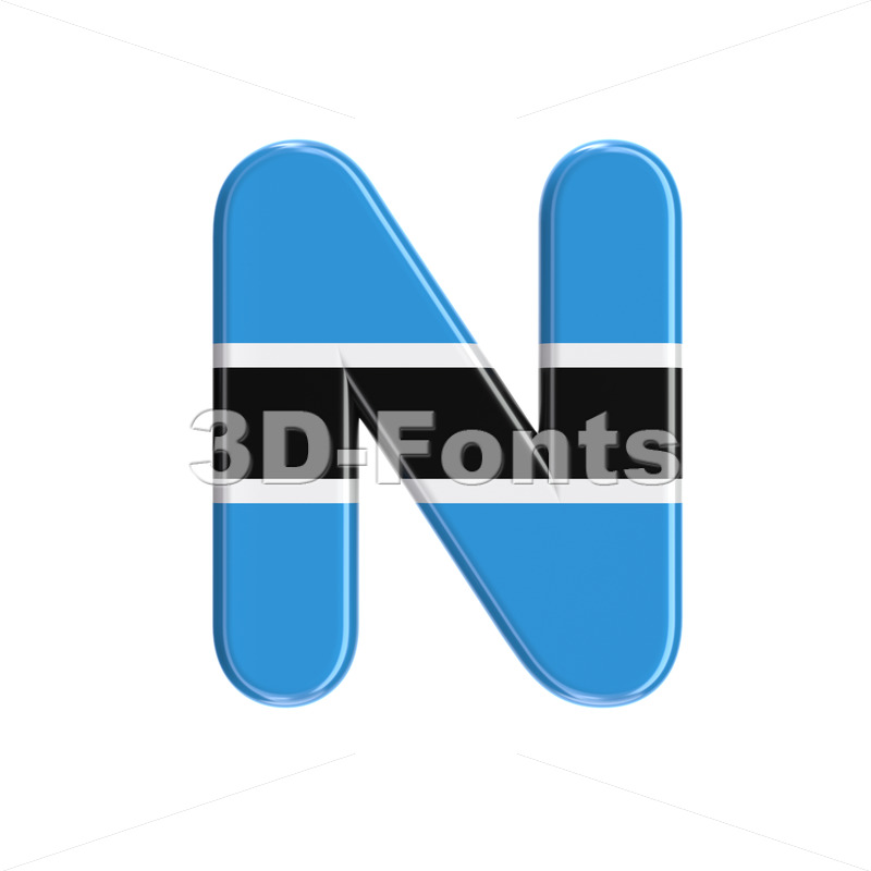 Botswana flag font N - Capital 3d letter - 3D Fonts Collections | Top Quality Letters, Numbers and Symbols !
