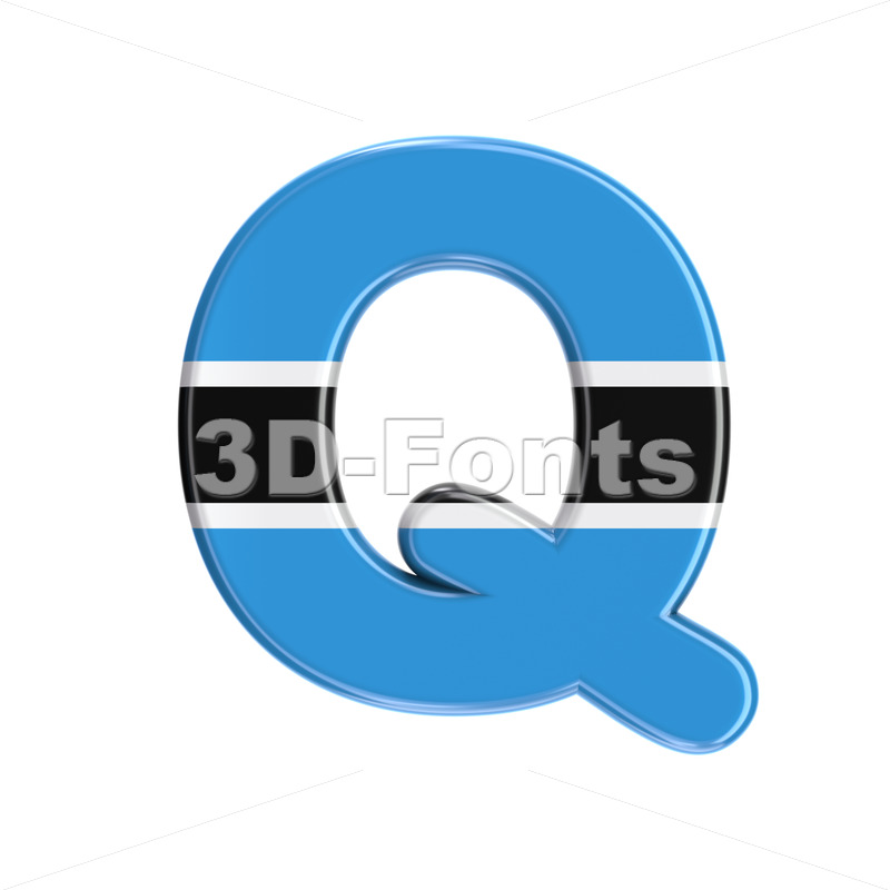 Botswana flag font Q - Upper-case 3d character - 3D Fonts Collections | Top Quality Letters, Numbers and Symbols !