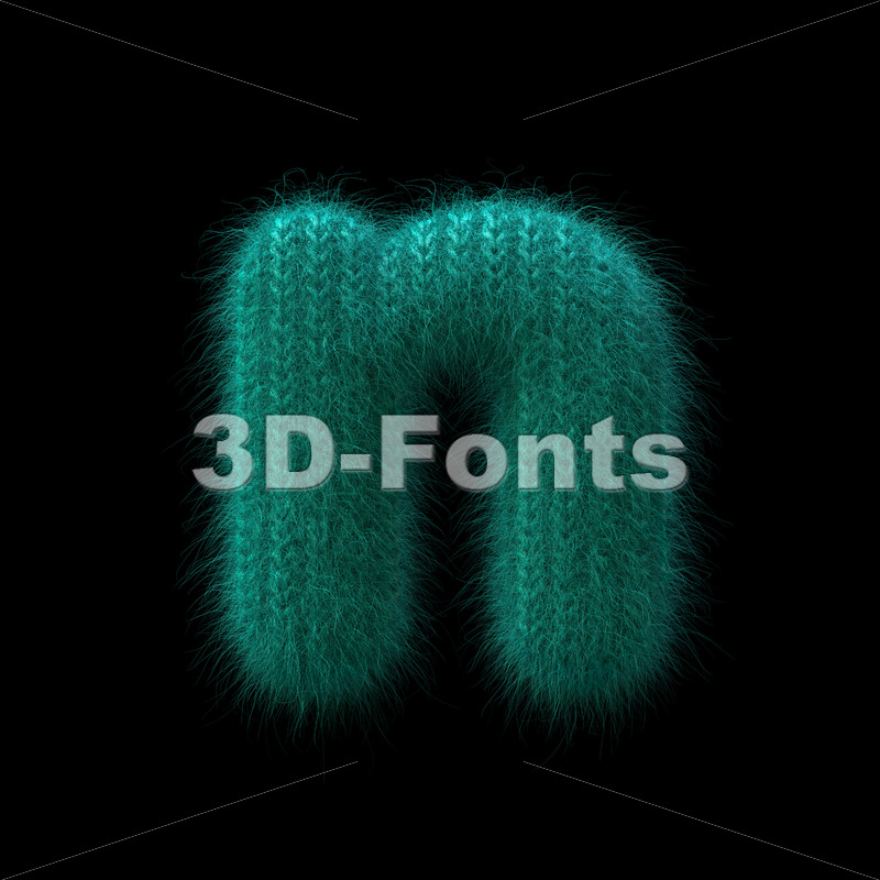 Lower-case wool letter N - Small 3d font - 3D Fonts Collections | Top Quality Letters, Numbers and Symbols !