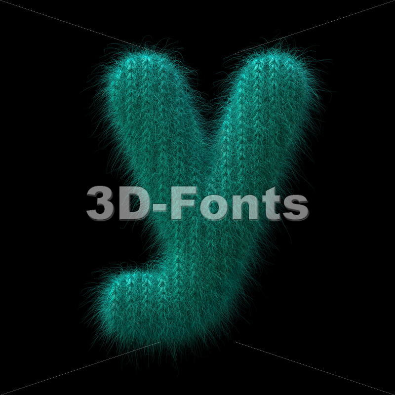 Lowercase Wool knit character Y - Small 3d letter - 3D Fonts Collections | Top Quality Letters, Numbers and Symbols !