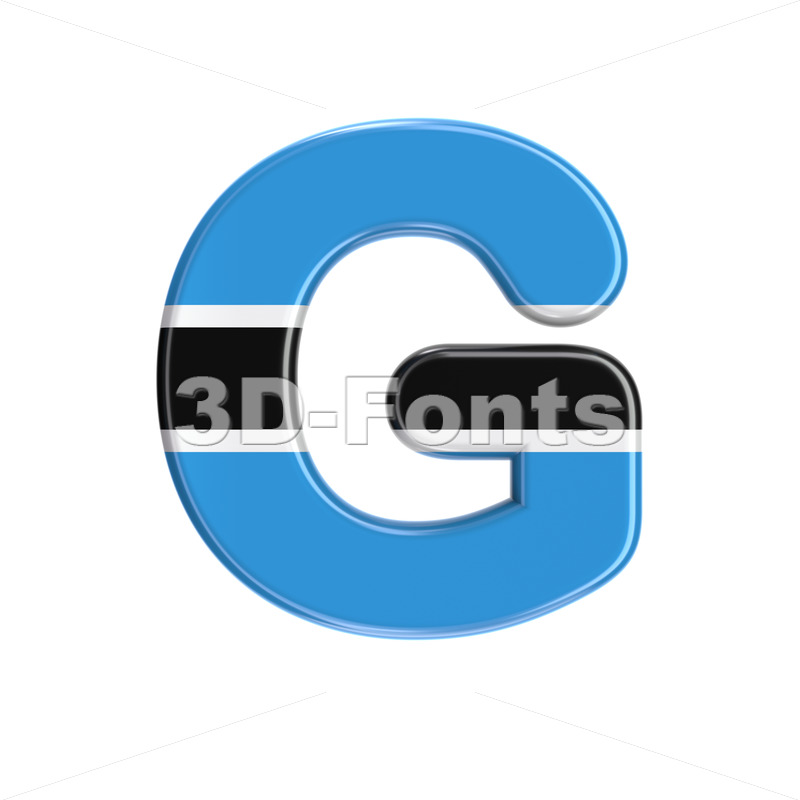 Uppercase Botswana flag character G - Capital 3d font - 3D Fonts Collections | Top Quality Letters, Numbers and Symbols !
