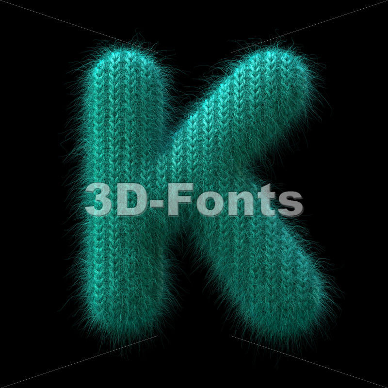 Uppercase wool letter K - Capital 3d font - 3D Fonts Collections | Top Quality Letters, Numbers and Symbols !