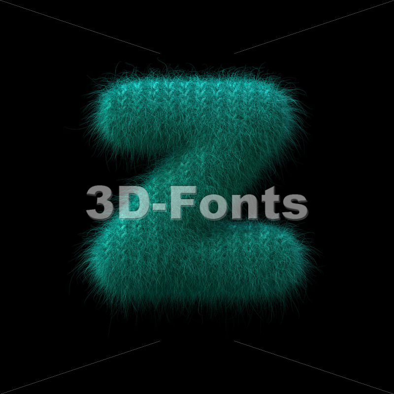 Wool knit 3d character Z - Lower-case 3d font - 3D Fonts Collections | Top Quality Letters, Numbers and Symbols !