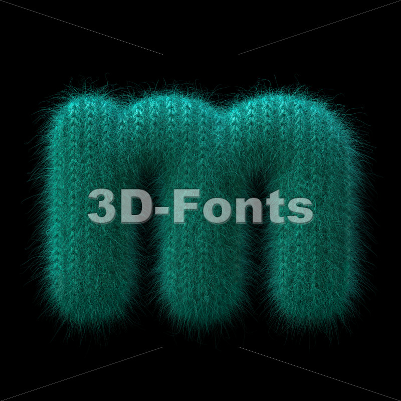 Wool knit 3d font M - Lowercase 3d letter - 3D Fonts Collections | Top Quality Letters, Numbers and Symbols !