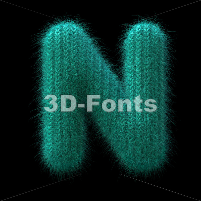 Wool knit font N – Capital 3d letter – 3D Fonts Collections | Top Quality Letters, Numbers and Symbols !