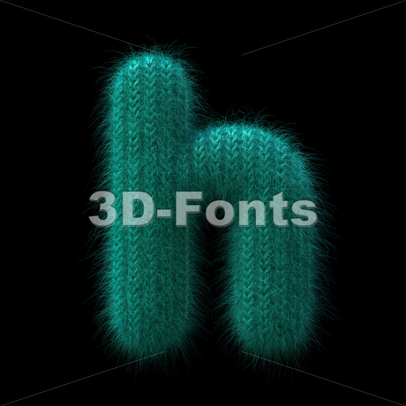 knit font H - Lower-case 3d letter - 3D Fonts Collections | Top Quality Letters, Numbers and Symbols !