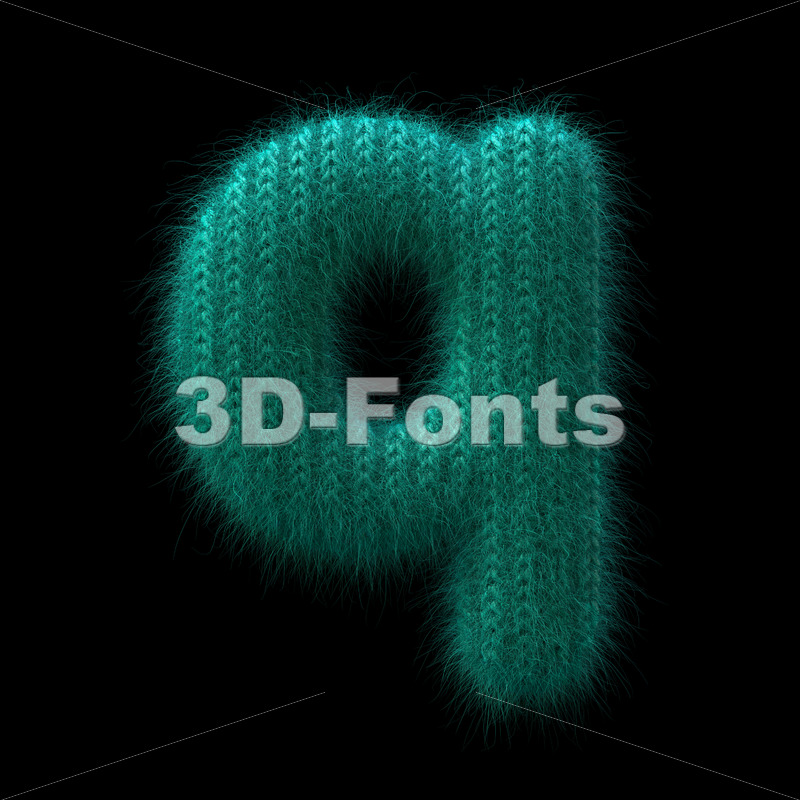 knitted alphabet font Q - Lower-case 3d letter - 3D Fonts Collections | Top Quality Letters, Numbers and Symbols !