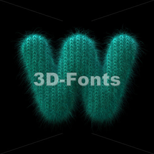 knitted alphabet letter W – Lower-case 3d character – 3D Fonts Collections | Top Quality Letters, Numbers and Symbols !