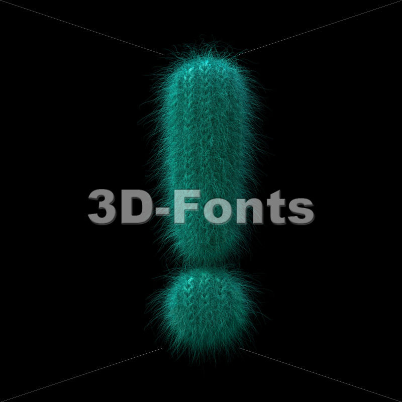 wool exclamation point - 3d  symbol - 3D Fonts Collections | Top Quality Letters, Numbers and Symbols !