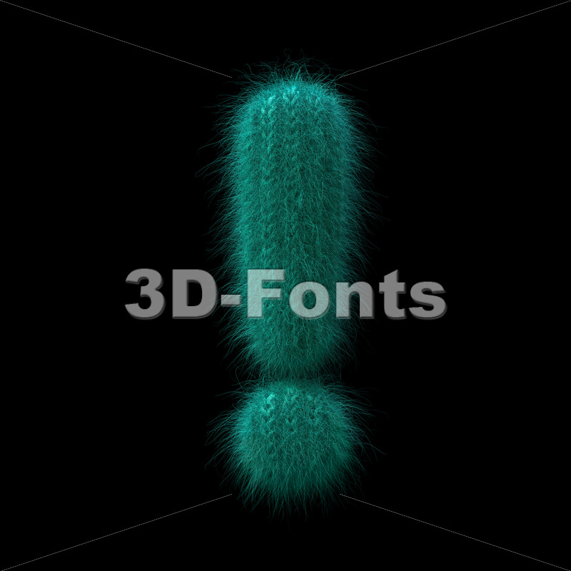 wool exclamation point – 3d  symbol – 3D Fonts Collections | Top Quality Letters, Numbers and Symbols !
