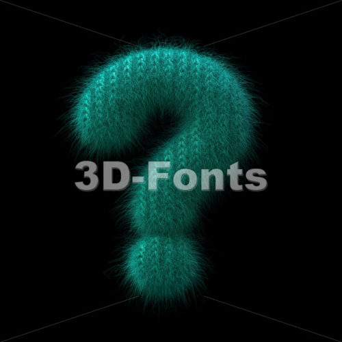 wool interrogation point - 3d  sign - 3D Fonts Collections | Top Quality Letters, Numbers and Symbols !