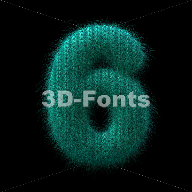 wool number 6 -  3d digit - 3D Fonts Collections | Top Quality Letters, Numbers and Symbols !